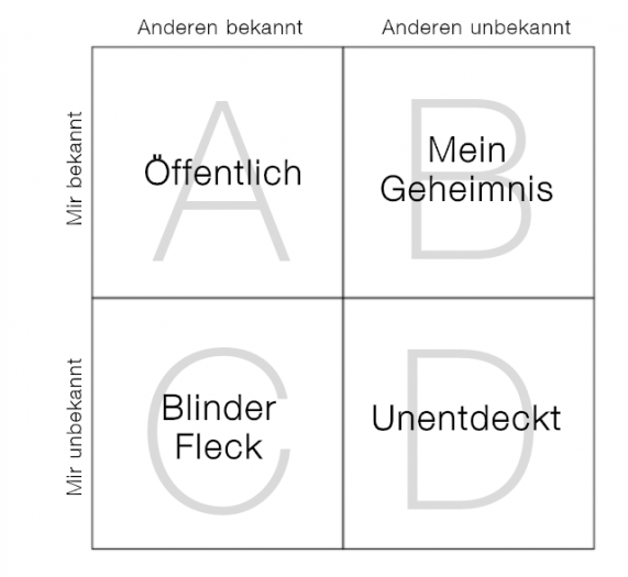 Johari-Fenster: Selbstwahrnehmung vs. Fremdwahrnehmung